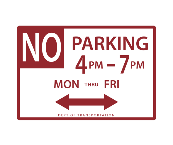 New York Parking Sign - No Parking Day Time Liimits